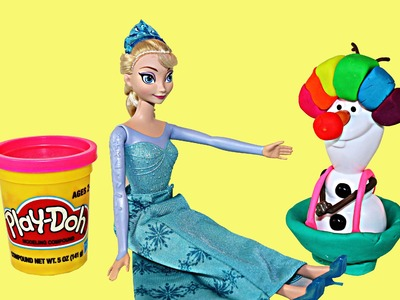 Play Doh Clown Frozen Barbie Doll Parody with Olaf Barbie Anna and Barbie Elsa by ToysReviewToys