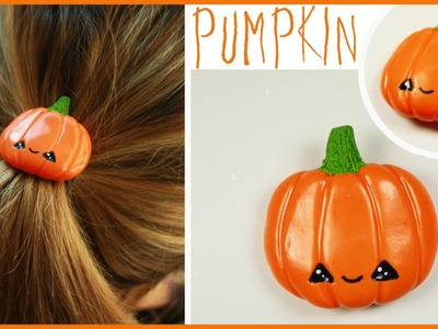 Polymer Clay kawaii pumpkin (hair accessories) HALLOWEEN TUTORIAL