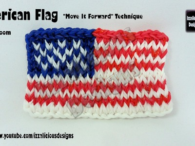 "Rainbow Loom American Flag ""Move It Forward"" Technique - single loom"