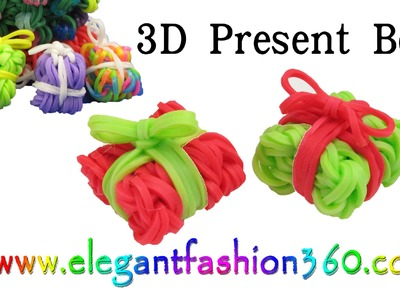 Rainbow Loom Present.Gift Box 3D Charms - How to Loom Bands Tutorial Christmas.Holiday.Ornaments