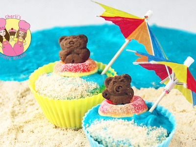 TEDDY GRAHAM CUPCAKE  - summer beach theme party -by Ashlee