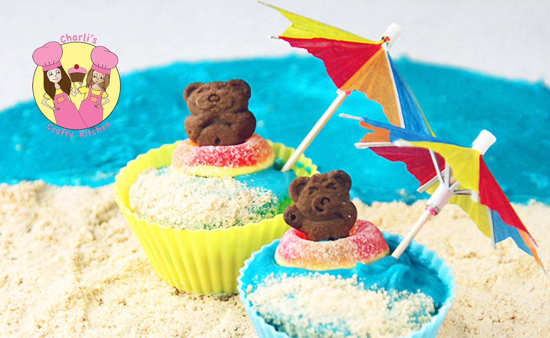 TEDDY GRAHAM CUPCAKE  - summer beach theme party -by Ashlee