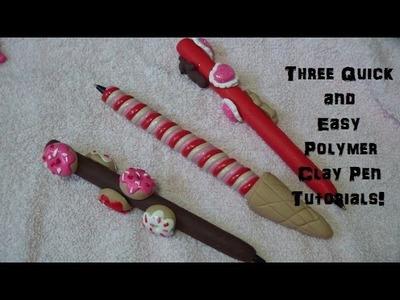 3 Quick & Easy Kawaii Polymer Clay Pens (Tutorial)!