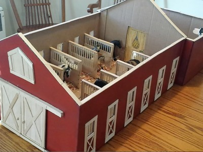 A Tour Of My Homemade Schleich Barn from Craft Sticks and a Box