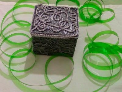 CAJA DE CARTON DECORADA-DECORATED  FELT PAPER BOX