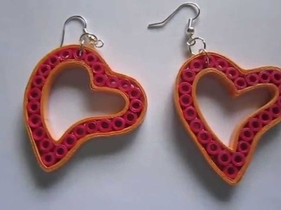 Handmade Jewelry - Paper Quilling Heart Earrings (Not Tutorial)