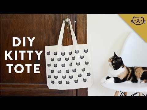 How to Make a Cat Tote Bag Using a Potato Stamp