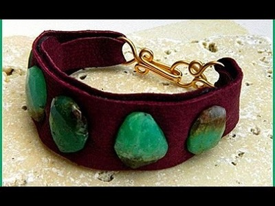 Jewelry How To - Leather Cuff Bracelet with Gemstones
