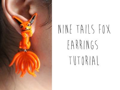 Kyuubi Kurama or Nine-Tailed Fox Earrings (Naruto Anime) Polymer Clay Tutorial