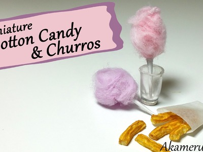 Minature Carnival Food; Cotton Candy & Churros - Polymer clay Tutorial