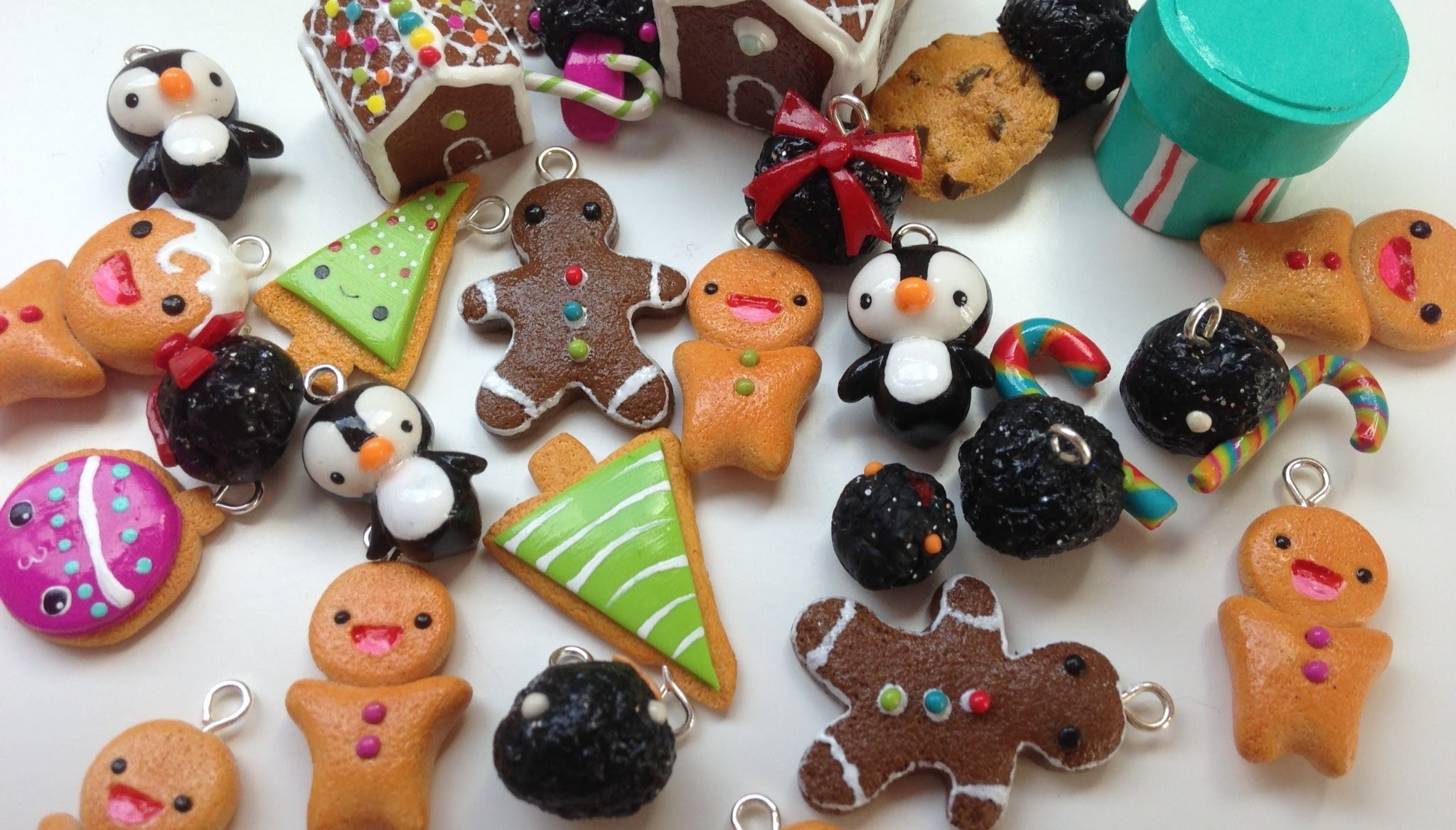 Polymer Clay Christmas Charms.Polymer Clay Charm Update 16 Christmas Charms