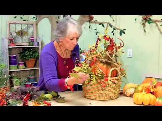 Pumpkin Centerpiece Basket Arrangement, FREE Video!
