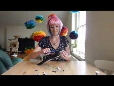Rainbow and ombre paper pom pom tutorial