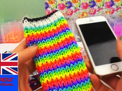 Rainbow loom iphone case english tutorial - how to make a loom bands phone case