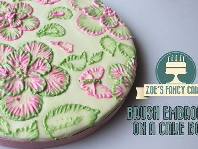 Royal icing brush embroidery on a cake board tutorial how to cake decorating tutorials
