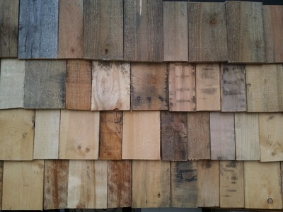 Working On My Homemade Tiny Home Pallet Wood Shake Style Siding