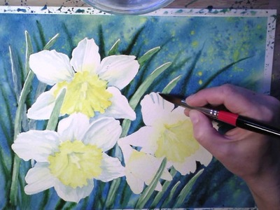 Daffodils in Watercolor - painting process