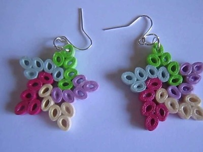 Handmade Jewelry - Paper Quilling Star Earrings (Not Tutorial)