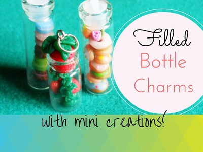 Mini Macarons, Donuts & Strawberries in Bottle Charms ♥ Polymer Clay + Bottle Charms