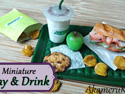 Miniature Fastfood Tray and Drink - Polymer clay