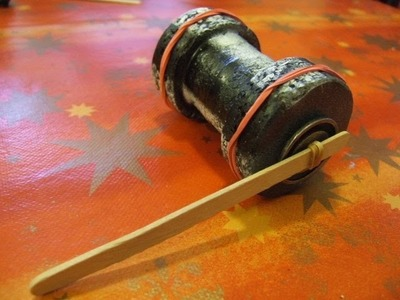 Old Style Rubber Band Powered Cotton Reel Car #1