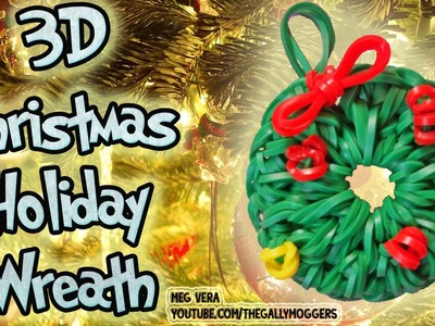 Rainbow Loom Tutorial Christmas Holiday Wreath Ornament Charm (LoomLess Design) - How To