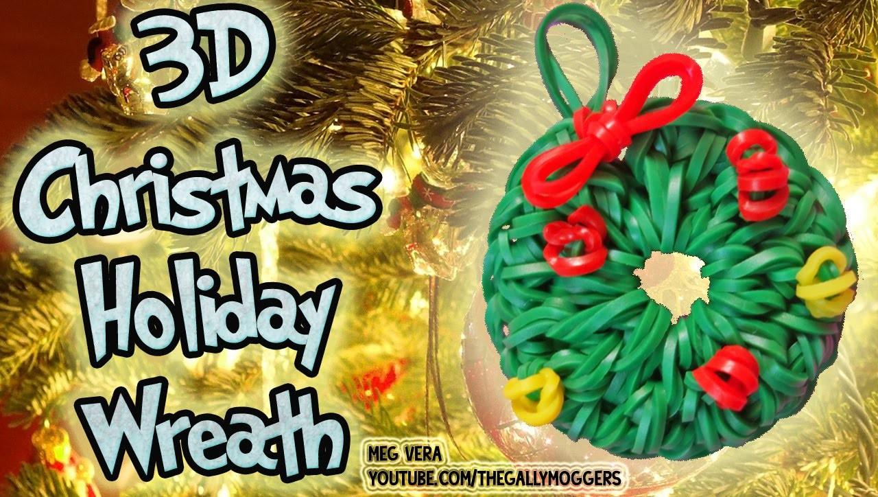 Rainbow Loom Tutorial Christmas Holiday Wreath Ornament Charm (LoomLess Design) - How To