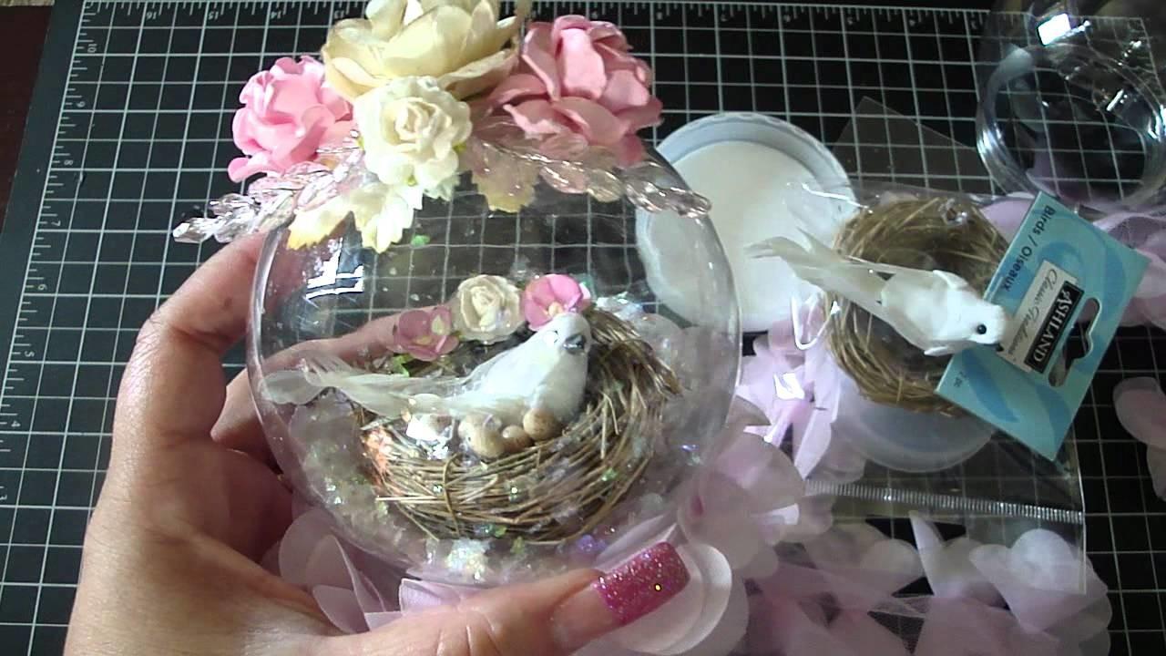 Shabby Chic Bird Nest Snow Globe