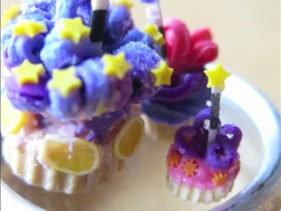 TINY POLYMER CLAY Cupcakes & Cakes for dollhouse or miniatures.