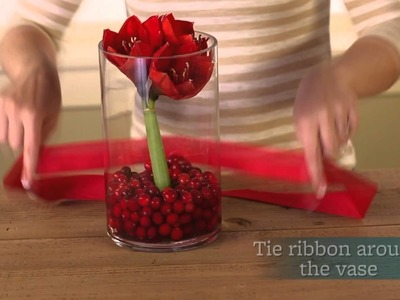 Fresh Christmas Centerpiece Ideas with Cranberries and Ribbon
