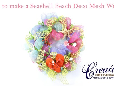 How to Make a Beach Themed Deco Mesh Wreath