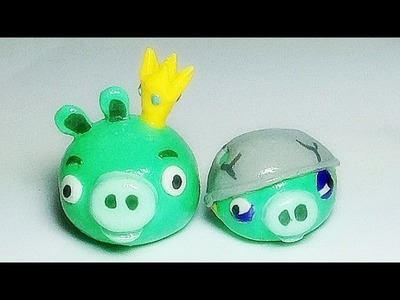 How to make Angry Birds Pig with Polymer Clay Tutorial (King Pig, Helmet Pig)