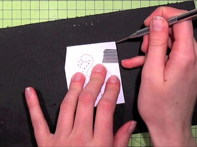 How to stitch on cards using a stamp as a template