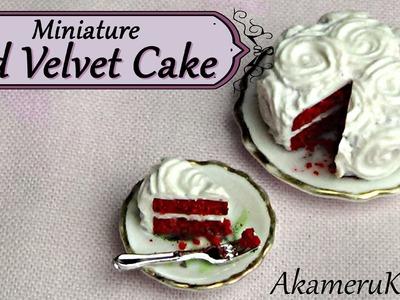 Miniature Red Velvet Cake - Polymer clay Dollhouse food tutorial