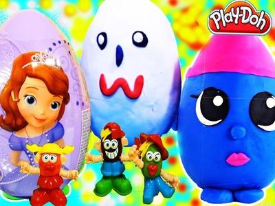 Play Doh Set fun Kinder Surprise Eggs Sofia The First Barbie Cars 2 Frozen Toys Fun Hello Kitty
