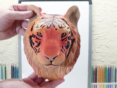 Tiger face wall art - Polymer Clay