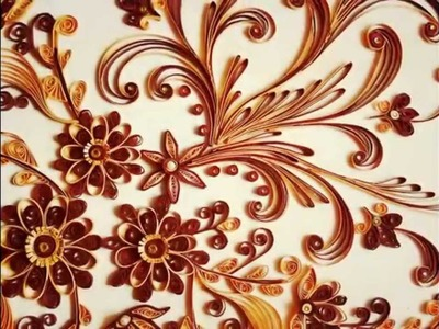 Wall frame with paper quilling flowers