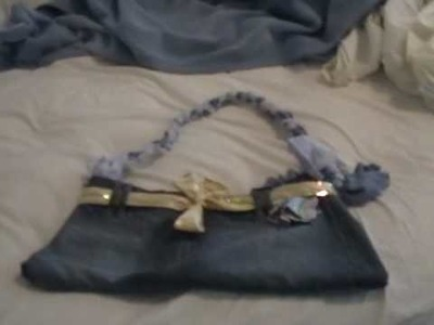 DIY jean messager bag with bow and flare