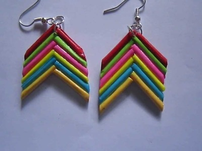 Handmade Jewelry - Rolled Bar Paper Earrings (Angular) (Not Tutorial)