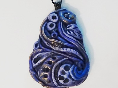 Polymer Clay Pendant - Purple Organic Abstract Pendant