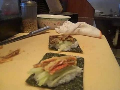 Sushivids  How to make a Salmon Skin Hand Roll