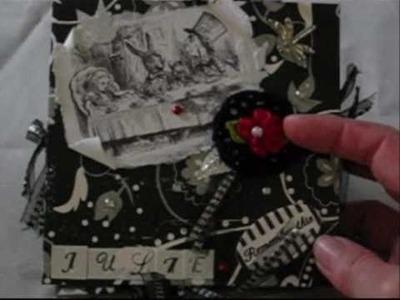 Black and white alice in wonderland mini accordion envelope  album