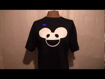 DeadMau5 T- Shirt GLOW in the DARK Laser LIGHT T SHIRT AWESOME Glow RAVE Club House DANCE SKRILLEX