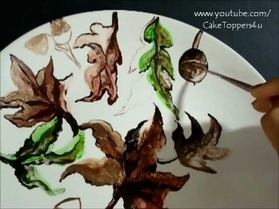 Painting on Ceramic Dinner Plates. Perfect Fall.Holiday Decoration - step by step tutorial