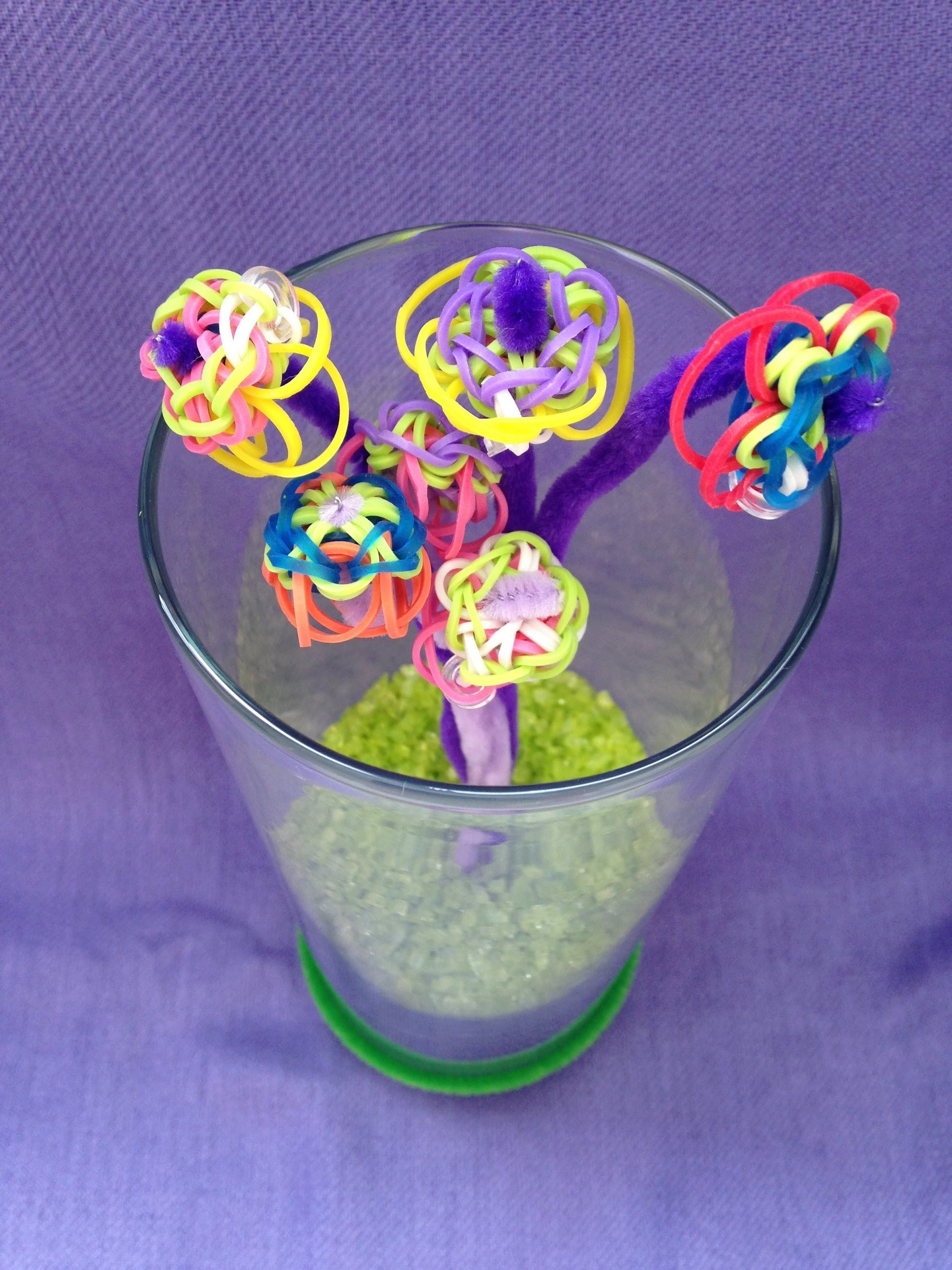 Rainbow Loom Bracelet - Bloom Charms - easy to make great Mother's day gift idea