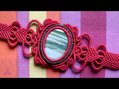 Vintage Macrame Bracelet with Gemstone