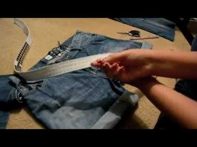 DIY: from jeans to shorts w. studs and destroy