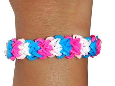 Rainbow Loom Double X Bracelet tutorial How to make D.I.Y Loom Bands armband step by step