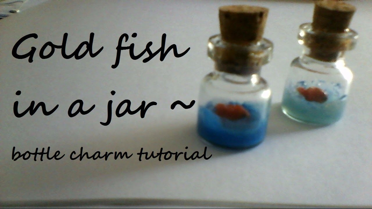 Bottle charms: Goldfish in a jar (miniature)