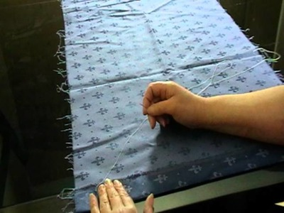 Learning stitches to make curtains by hand